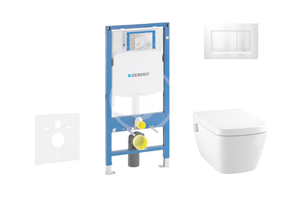 GEBERIT - Duofix Modul pro závěsné WC s tlačítkem Sigma30, matný chrom/chrom + Tece One - sprchovací toaleta a sedátko, Rimless, SoftClose (111.300.00.5 NT7)
