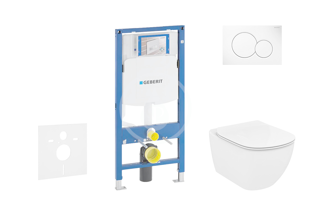 GEBERIT - Duofix Modul pro závěsné WC s tlačítkem Sigma01, alpská bílá + Ideal Standard Tesi - WC a sedátko, Aquablade, SoftClose (111.300.00.5 NU1)