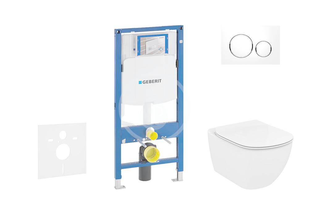 GEBERIT - Duofix Modul pro závěsné WC s tlačítkem Sigma20, bílá/lesklý chrom + Ideal Standard Tesi - WC a sedátko, Aquablade, SoftClose (111.300.00.5 NU4)