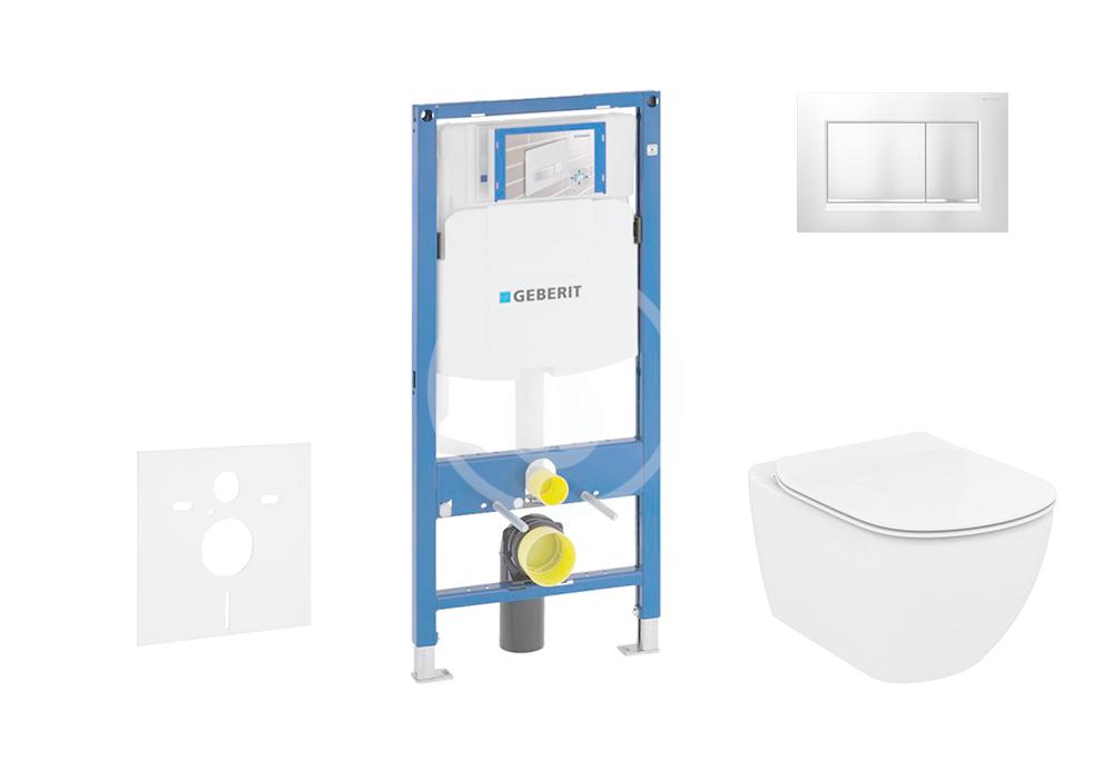 GEBERIT - Duofix Modul pro závěsné WC s tlačítkem Sigma30, matný chrom/chrom + Ideal Standard Tesi - WC a sedátko, Aquablade, SoftClose (111.300.00.5 NU7)