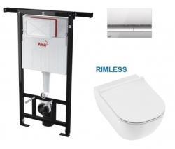AKCE/SET/ALCAPLAST - SET Jádromodul - predstenový inštalačný systém s chrómovým tlačidlom M1721 + JIKA Mio WC, Rimless + Mio WC sedátko SLIM (AM102/1120 M1721 IO1)
