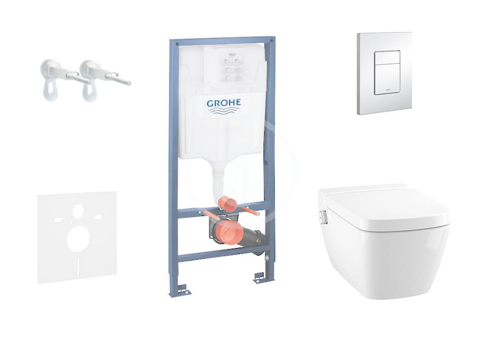 GROHE - Rapid SL Set předstěnové instalace, sprchovací toalety a sedátka Tece, tlačítka Skate Cosmo, Rimless, SoftClose, chrom (38528SET-KT)