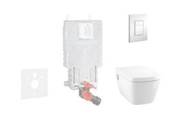 GROHE - Uniset Súprava predstenovej inštalácie, sprchovacej toalety a dosky Tece, tlačidla Skate Cosmo, Rimless, SoftClose, chróm (38643SET-KT)