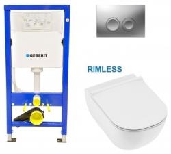 AKCE/SET/GEBERIT - SET Duofix Sada pre závesné WC 458.103.00.1 s matným tlačidlom DELTA21 + JIKA Mio WC, Rimless + Mio WC sedátko SLIM (458.103.00.1 21MA IO1)