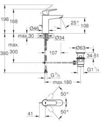 GROHE - Edge Páková umývadlová batéria s výpustom, veľkosť M, chróm (23758000), fotografie 2/2