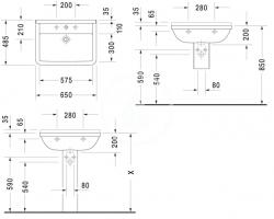 DURAVIT - Starck 3 Jednootvorové umývadlo s prepadom, 650mmx485mm, biele (0300650000), fotografie 4/3