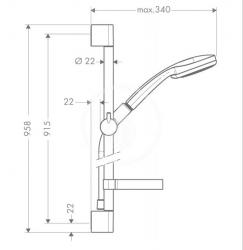 HANSGROHE - Croma 100 Súprava ručnej sprchy Vario EcoSmart 9 l/min/nástennej tyče Unica'C 0,90 m, chróm (27653000), fotografie 4/2