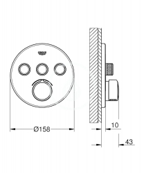GROHE - SmartControl Batéria pod omietku s 3 výstupmi, chróm (29146000), fotografie 2/1