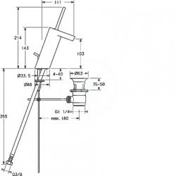 HANSA - Stela Páková umývadlová batéria s odtokovou súpravou, chróm (57092201), fotografie 4/2