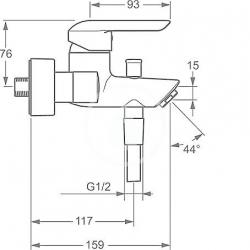 HANSA - Vantis Páková vaňová batéria, chróm (52442173), fotografie 2/3