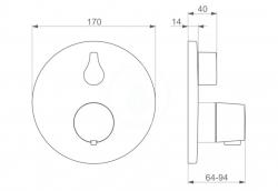 HANSA - Living Termostatická vaňová batéria pod omietku, s prepínačom na 2 výstupy, chróm (81149552), fotografie 2/1