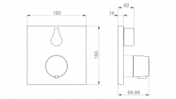 HANSA - Living Termostatická vaňová batéria pod omietku, s prepínačom na 2 výstupy, chróm (81149562), fotografie 2/1
