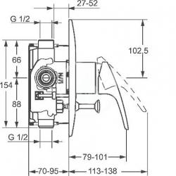 HANSA - Mix Vaňová batéria pod omietku, chróm (01849183), fotografie 6/3