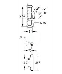 GROHE - Grohtherm 1000 Sprchová súprava s termostatom na stenu, chróm (34153004), fotografie 2/1