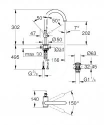 GROHE - Atrio Umývadlová batéria s výpustom a otočným výtokom, veľkosť L, chróm (32042003), fotografie 4/2