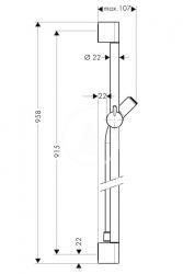 HANSGROHE - Unica'C Sprchová tyč 0,90 m, chróm (27610000), fotografie 2/1