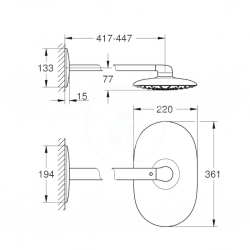 GROHE - Rainshower SmartControl Horná sprcha 360 Mono, 360mm x 220 mm, mesačná biela (26450LS0), fotografie 2/1
