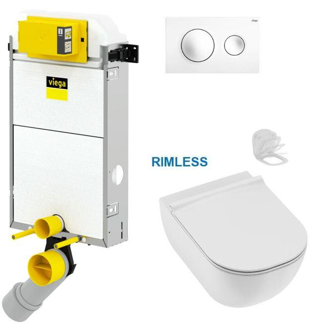 VIEGA Presvista modul PURE pro WC včetně tlačítka Style 20 bílé + WC JIKA MIO + SEDÁTKO SLIM Slowclose (V771928 STYLE20BI IO2)
