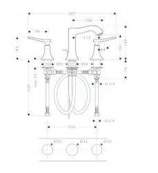 HANSGROHE - Metris Classic Trojotvorová umývadlová batéria s odtokovou súpravou s ťahadlom, chróm (31073000), fotografie 2/1
