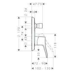 HANSGROHE - Metris Classic Páková vaňová batéria pod omietku, chróm (31485000), fotografie 2/1