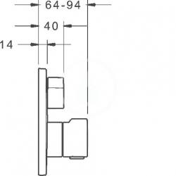 HANSA - Home Termostatická vaňová batéria pod omietku, s 2 výstupmi, chróm (88629045), fotografie 4/3