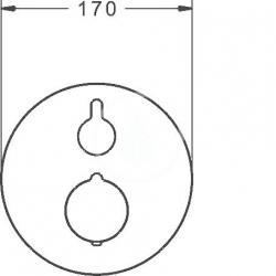 HANSA - Home Termostatická vaňová batéria pod omietku, s 2 výstupmi, chróm (88629045), fotografie 2/3