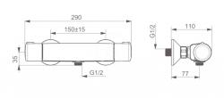 HANSA - Micra Termostatická sprchová nástenná batéria, chróm (58150171), fotografie 2/2