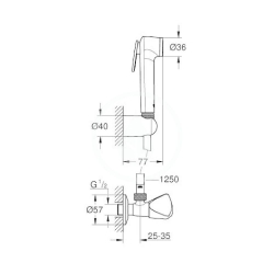 GROHE - Tempesta-F Nástenný ventil s ručnou bidetovou spŕškou, chróm (27514001), fotografie 4/2