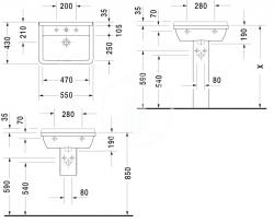 DURAVIT - Starck 3 Jednootvorové umývadlo s prepadom, 550mmx430mm, biele (0300550000), fotografie 4/3