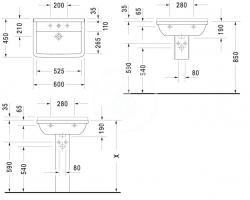 DURAVIT - Starck 3 Jednootvorové umývadlo s prepadom, 600mmx450mm, biele (0300600000), fotografie 4/3