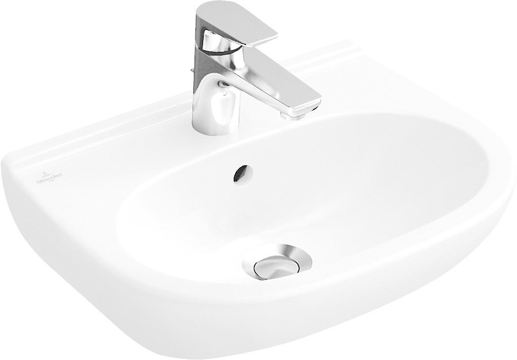 VILLEROY & BOCH - O.novo Umývadlo Kompakt, 550 mm x 370 mm, biele – jednootvorové umývadlo, s prepadom 51665501