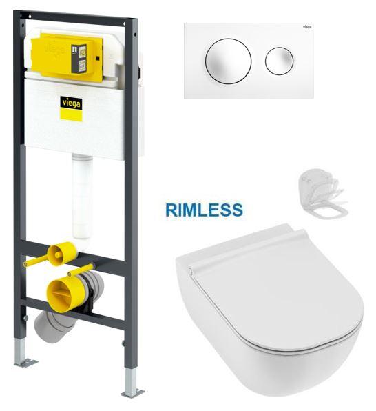 VIEGA Presvista modul DRY pro WC včetně tlačítka Style 20 bílé + WC JIKA MIO + SEDÁTKO SLIM Slowclose (V771973 STYLE20BI IO2)