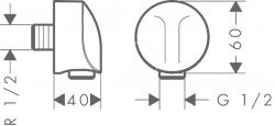 HANSGROHE - Fixfit Pripojenie hadice FixFit E, chróm (27454000), fotografie 2/1