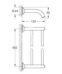 GROHE - Essentials Authentic Dvojramenný držiak na uteráky, chróm (40654001), fotografie 2/1