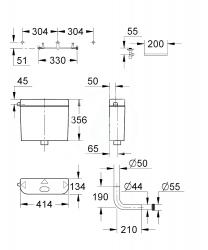 GROHE - Příslušenství Splachovacia nádrž 356x134 mm, alpská biela (37355SH0), fotografie 2/1