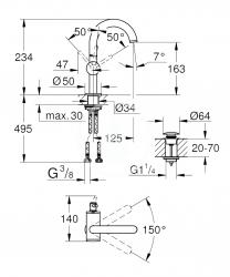 GROHE - Atrio Umývadlová batéria s výpustom a otočným výtokom, veľkosť M, kefovaný Hard Graphite (32043AL3), fotografie 2/1