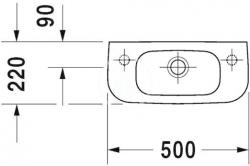 DURAVIT - D-Code Jednootvorové umývadielko s prepadom, 500 mmx220 mm, biele (07065000082), fotografie 4/3