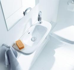 DURAVIT - D-Code Jednootvorové umývadielko s prepadom, 500 mmx220 mm, biele (07065000082), fotografie 2/3