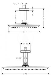 HANSGROHE - PuraVida Horná sprcha 400 Air 1jet s prívodom od stropu 100 mm, chróm (27390000), fotografie 4/2