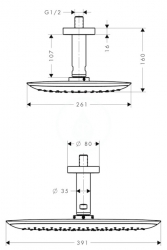 HANSGROHE - PuraVida Horná sprcha 400 Air 1jet s prívodom od stropu 100 mm, biela/chróm (27390400), fotografie 4/2
