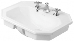 DURAVIT - 1930 Umývadlo s prepadom, 580 mmx470 mm, biele – trojotvorové umývadlo (0476580030)