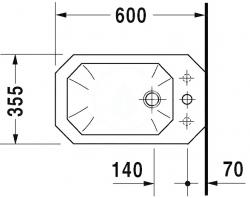DURAVIT - 1930 Stojací bidet, 355 mmx600 mm, biely – bidet (0267100000), fotografie 2/3