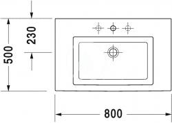 DURAVIT - 2nd floor Umývadlo s prepadom, 800 mmx500mm, biele – bezotvorové umývadlo (0491800060), fotografie 2/4