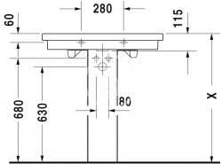 DURAVIT - 2nd floor Umývadlo s prepadom, 800 mmx500mm, biele – bezotvorové umývadlo (0491800060), fotografie 4/4