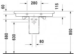DURAVIT - 2nd floor Umývadlo s prepadom, 800 mmx500mm, biele – bezotvorové umývadlo (0491800060), fotografie 6/4