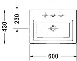 DURAVIT - 2nd floor Umývadlo s prepadom, brúsené, 600 mmx430 mm, biele – jednootvorové umývadlo (0491600027), fotografie 4/2
