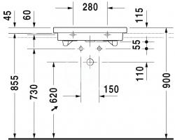 DURAVIT - 2nd floor Umývadlo s prepadom, brúsené, 600 mmx430 mm, biele – jednootvorové umývadlo (0491600027), fotografie 2/2