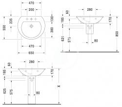 DURAVIT - Darling New Umývadlo s prepadom, 650 mmx540 mm, biele – trojotvorové umývadlo (2621650030), fotografie 2/1