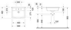DURAVIT - Starck 3 Jednootvorové umývadlo s prepadom, 560 mmx460 mm, biele – umývadlo (0302560000), fotografie 4/2