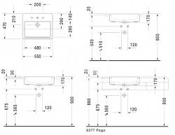 DURAVIT - Vero Umývadlo s prepadom, 550 mmx470 mm, biele – trojotvorové umývadlo (0314550030), fotografie 2/3